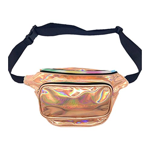 ist Bag Waterproof Shiny Neon Fanny Bag Bum Bag Beach Purse (Champagne Gold) (1 Hologram Laser)