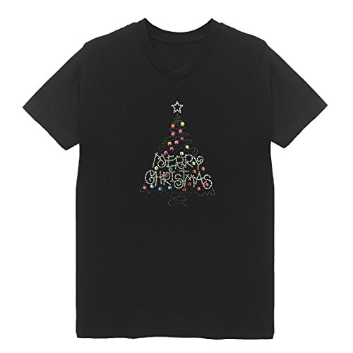 Merry Christmas Tree Women's V Neck T-Shirt Plus Size Handmade Xmas (3X-Large, Black)