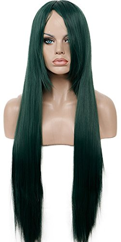 Diy-Wig Trendy Long Dark Green Straight Wig With Bangs Costume Party Hair Wig (Sailor Moon Costume Diy)