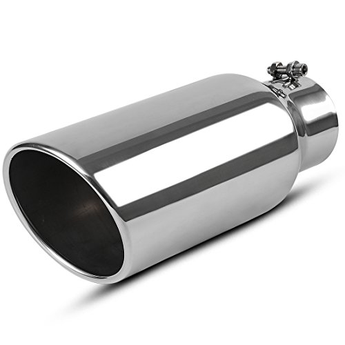 4 Inch Inlet Exhaust tip, AUTOSAVER88 Chrome Polished Stainless Steel Diesel Exhaust Tailpipe Tip, 4 x 6 x 15 Clamp On Design.