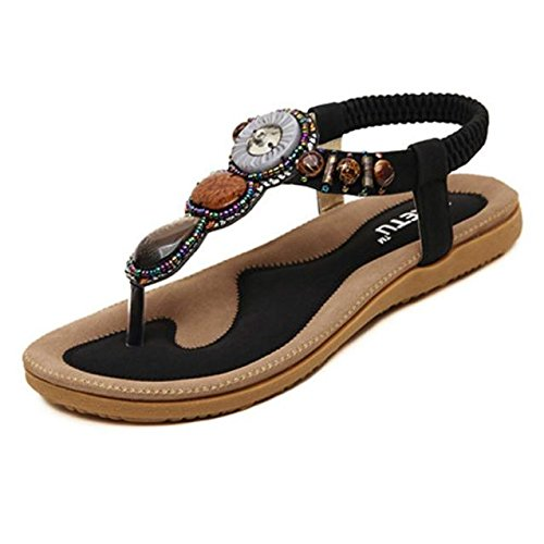 Nevera Ladies Flip-Flops Bohemian Elastic Strappy Thong Ankle Strap Sandals for Women Black