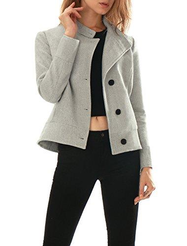 Allegra K Women Funnel Neck Single Breasted Long Sleeves Coat Grey M (Womens Winter Coats Short)