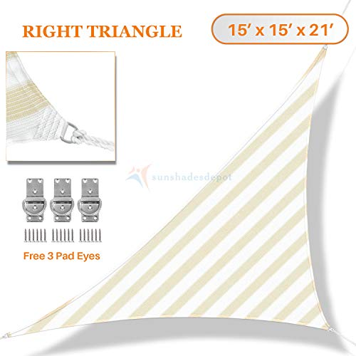 Sunshades Depot 15 x 15 x 21 Knitted Curved Shade sail 180 GSM Right Triangle Permeable Canopy Pergolas Cartport Cover Wide Beige Stripes and White Stripes Customize Commercial Grade