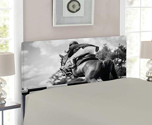 Lunarable Horse Headboard for Twin Size Bed, Equestrian Sports Theme Racehorse and Sportsman Competition Obstacle Hurdle Art, Upholstered Metal Headboard for Bedroom Decor, Black and Grey