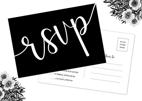 50 RSVP Cards, No Envelopes Required, Black and White Printing, Wedding, Rehearsal, Birthdays, Baby, Bridal Shower Invitation]()