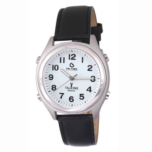 Atomic Talking White Face with Black Numbers Leather Band (Band Numbers Leather Black)