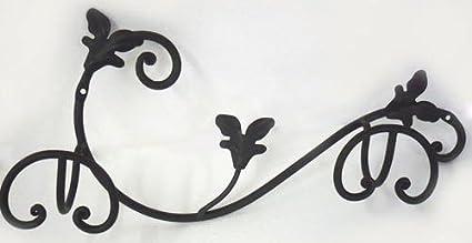Appendiabiti a parete 2 posti in ferro battuto nero