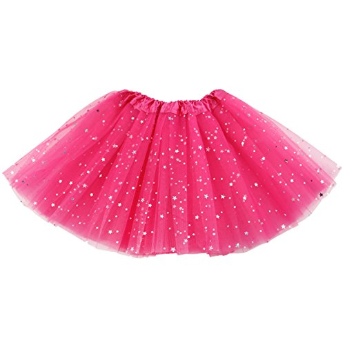 (Jastore Girls Layered Stars Sequins Tutu Skirt Princess Ballet Dance Dress (Rose))