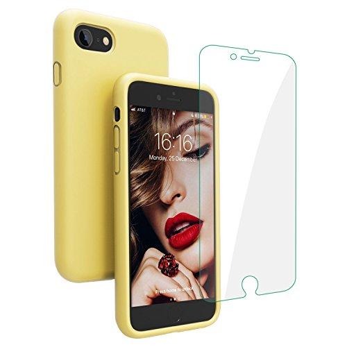 [해외]아이폰과 호환 8 케이스 아이폰 7 케이스 JASBON 액체 실리콘 전화 케이스 무료 화면 보호젤 고무 충격 방지 커버 애플 아이폰 에 대한 전체 보호 케이스 87-노란색 / Compatible with iPhone 8 Case iPhone 7 Case JASBON Liquid Silicone Phone Ca...