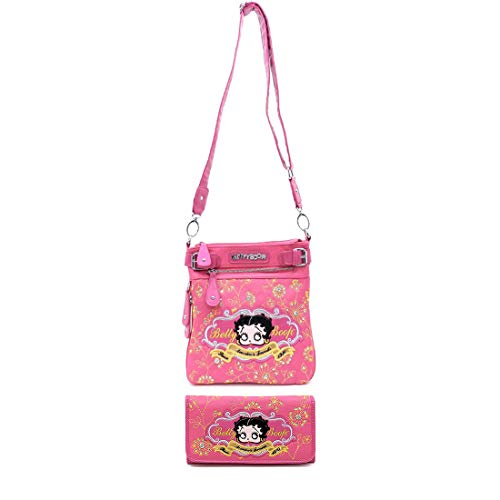 Betty Boop Pink Leather - Betty Boop bling rhinestone Pink Cross-Body Messenger wallet Bag set embroider