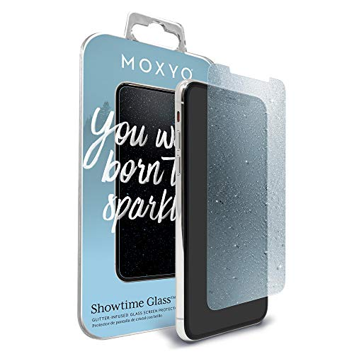 MOXYO - Showtime Glitter Glass Screen Protector Compatible with Apple iPhone X/Xs, Glitter-Infused Tempered Glass Screen Protector for The Apple iPhone X/iPhone Xs (Blue)