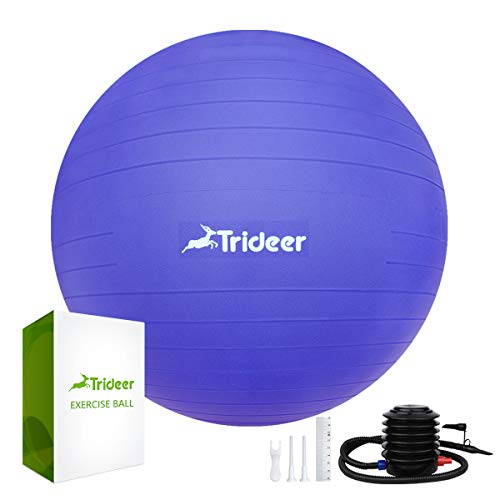 Trideer Exercise Ball (45-85cm) Extra Thick Yoga Ball Chair, Anti-Burst Heavy Duty Stability Ball Supports 2200lbs, Birthing Ball with Quick Pump (Office & Home & Gym) (Indigo Blue, 55cm) ()