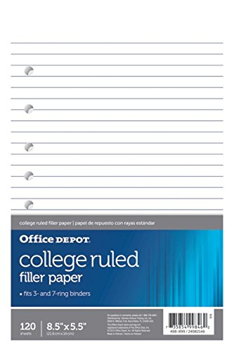 "Office Depot Brand Filler Paper, College-Ruled, Mini Binder Paper, 7-Hole Punched, 8-1/2"" x 5-1/2"", 120 Sheets"