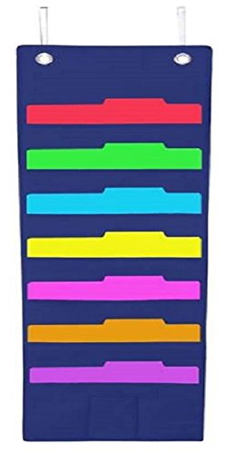 UPC 743167807975, Hanging File Folder Holder Cascading Fabric Organizer- 7 Pocket Home School Office Classroom Filing Storage-Vertical Pocket Chart- Wall or Door Mounted System-Bonus Pencil Pocket and Hangers (Blue)