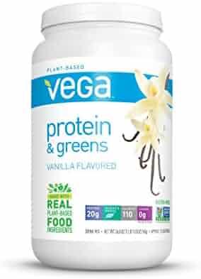 Vega Protein & Greens, Plant Protein Shake, Vanilla, 1.67 lb, 25 Servings