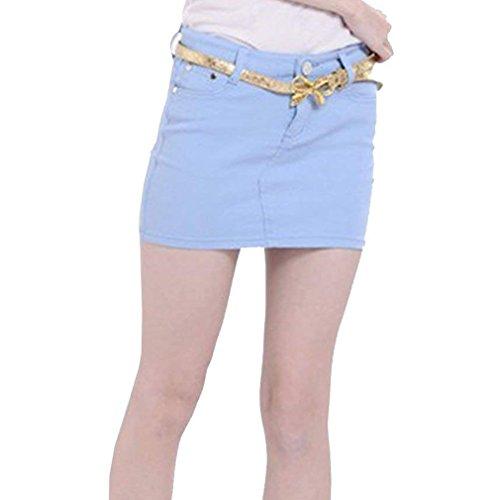 Doux Mince Jean L Jupes S en pour Couleur Femmes Bleu Clair Et Boutonn Slim Jupe Jupes Mini Yying Devant Sexy Bonbons xYPUaqwOyT