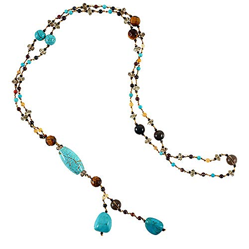 Chuvora Genuine Turquoise Gemstones and Crystal Beaded Y Drop Long Necklace, 26 inches