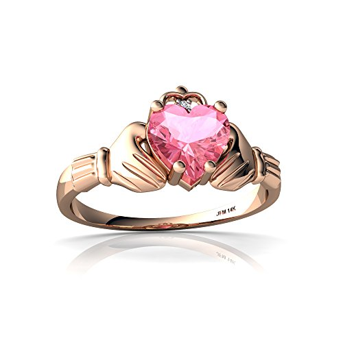 14kt Rose Gold Lab Pink Sapphire and Diamond 6mm Heart (Claddagh Pink Sapphire Ring)
