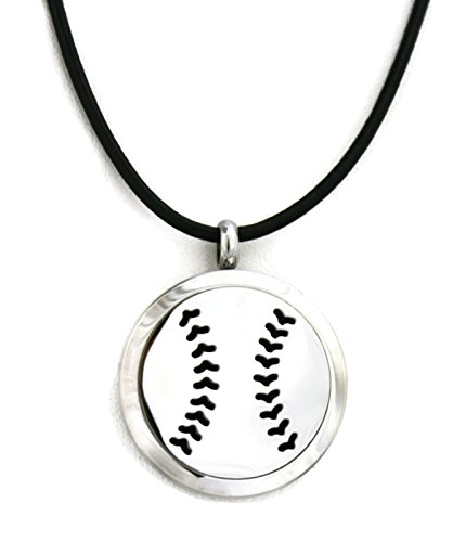 Baseball Stainless Essential Diffuser Necklace Black