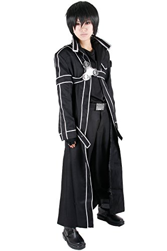 Miccostumes Men's Kirito Cosplay Costume Medium Black]()