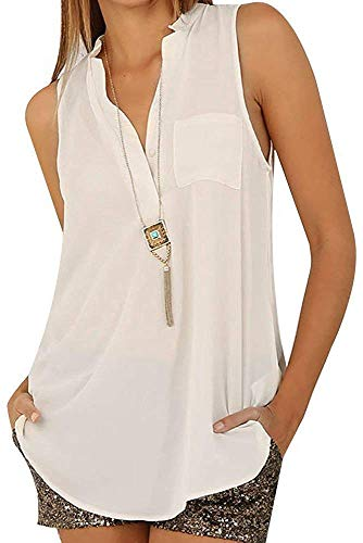 OUR WINGS Women's V Neck Sleeveless Chiffon Blouse Casual Loose Button up Shirts Tank Top White L by OUR WINGS