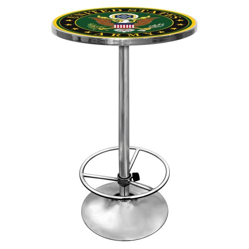 United States Army Chrome Pub Table (Army Tabletop Knights Black)