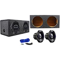 """Package: (2) Hifonics BRX12D4 Brutus 12 Dual 4-Ohm 900 Watts Peak / 450 Watts RMS Car Subwoofer + Rockville RD12 Dual 12"""" 1.25 cu.ft. Sealed Subwoofer Enclosure + Dual Enclosure Wire Kit With 14 Gauge Speaker Wire + Screws + Spade Terminals"""