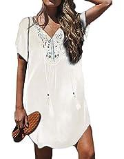 Vestido túnica feminino de biquíni com manga curta e saída de praia sólida da KLJR