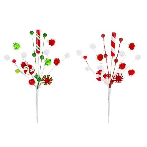 Darice Peppermint Pick with Pom-Poms: 6 x 9.75 inches, Set of 2 Assorted Colors