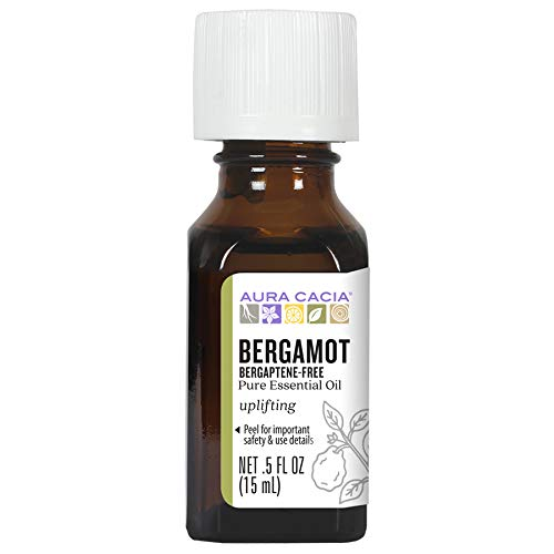 Aura Cacia 100% Pure Bergaptene-Free Bergamot Essential Oil | GC/MS Tested for Purity | 15 ml (0.5 fl. oz.) | Citrus bergamia