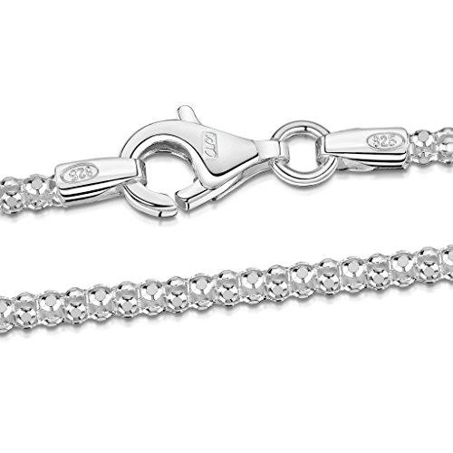 Amberta 925 Sterling Silver 2.5 mm Diamond Cut Popcorn Coreana Chain Necklace Length 24