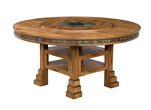 Sunny Designs Sedona Round Table with Lazy Susan, 60-Inch - Dining Room Table Lazy Susan
