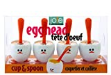 Joie 8 Piece Egghead Egg Cup and Spoon, Multicolor