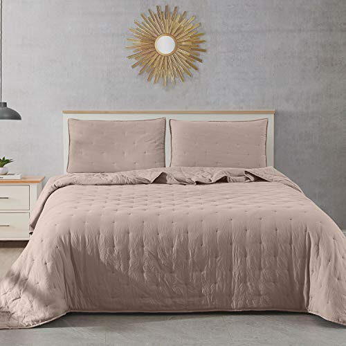 DN_LIN New Fairmont Dot Stitch Vintage Washed Quilt & Pillow Sham Set (Size King - Taupe). (Set Fairmont Bed)