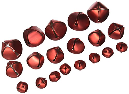 Holiday Jingle Bells - Red - Assorted Sizes (19 bells) (Jingle Bells Red)