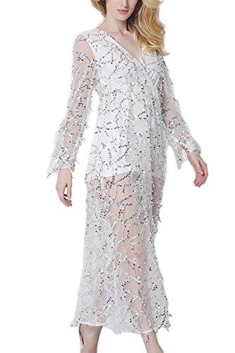 Pura de lentejuelas Elegant de las mujeres Maxi vestido de noche White