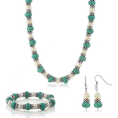 imulated Turquoise Howlite & Cultured Freshwater Pearl & Spacers Necklace + Earrings ()