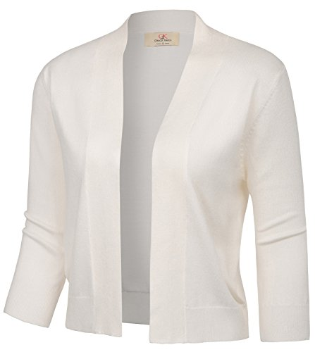 Casual Essential Cardigan Knitting Bolero Shrug for Student (XL,Ivory)
