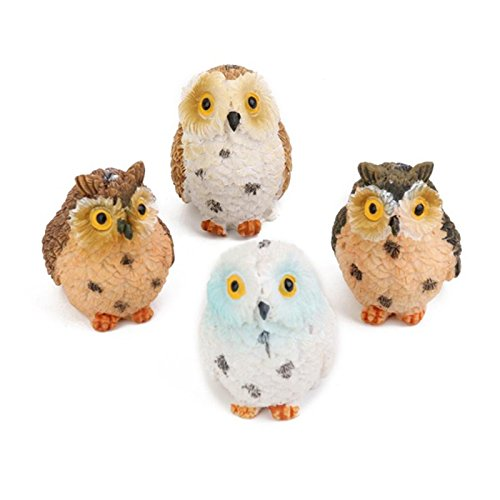 Grocery House 4pcs Miniature Resin Owls Figurines Decor for Dollhouse Bonsai Garden Landscape