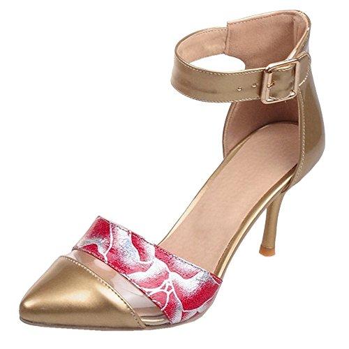 Heels CoolCept Büro Schuhe Party Kleid Hochzeit Stiletto Gold Gedicht Patent Frauen Sandalen z0wznUAq