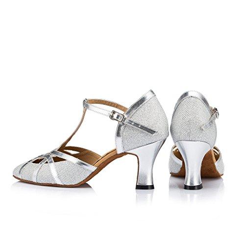 Toe Womens High Latin Dance Modern Glitter Closed UP Mesh Dance Jance Mary Shoes Heel Leather Salsa Silver Doris Ballrom Tango IwdqXI