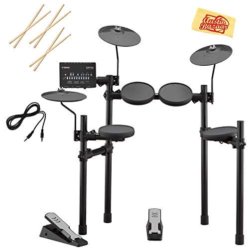 Yamaha DTX402K Electronic Drum Set Bundle with Drum Sticks, Aux Cable, and Austin Bazaar Polishing -