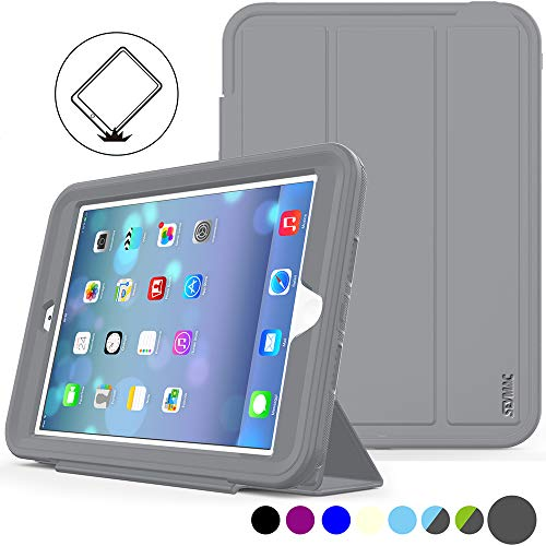 SEYMAC Stock iPad Mini 1/2/ 3 Case, (Not for mini4), Three Layer Heavy Anti-Shock Proof Protective Case, Smart Cover Auto Sleep Wake with Leather Stand Feature for iPad Mini 1/2/3 (Gray/Gray)