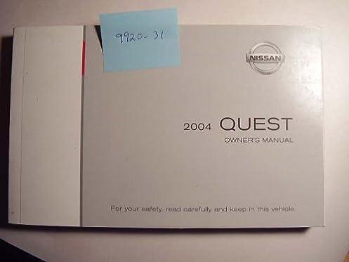 2004 nissan quest owners manual nissan amazon com books rh amazon com 2004 nissan quest repair manual free 2004 nissan quest maintenance manual