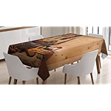 Western Decor Tablecloth by Ambesonne, American Texas Style Country Music Guitar Cowboy Boots USA Folk Culture, Dining Room Kitchen Rectangular Table Cover, 60W X 90L Inches, Cream and Brown