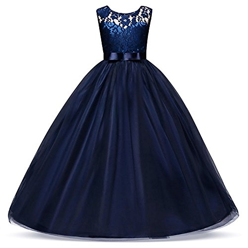 Weileenice 3-14Y Big Girls Lace Bridesmaid Dress Dance Gown A Line Dresses Long for Party Wedding (11-12 Years, Navy - Dance Gown Formal Prom Pageant