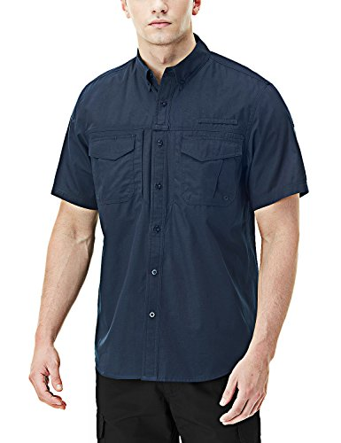 CQR CQ-TOS401-DNY_X-Large Men's Performance Fishing Gear UPF 50+ Short-Sleeve Breathable PFG Rip-Stop Shirt TOS401