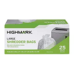 Cleaning up after shredding jobs is a breeze when you use Highmark shredder bags. These shredder bags are 1-mil thick and can hold up to 15 gallons, making them suitable for both home and office use. Shredder bags are tough and durable for al...