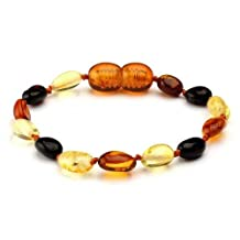 Baltic Amber Baby Teething Bracelet/Anklet Multicolour Oval Beans BTB37 By Amber Corner