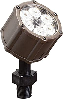 Kichler Lighting 15742AZT LED Accent Light 6-Light Low Voltage 35 Degree Flood Light, Textured Architectural Bronze with Clear Tempered Glass Lens